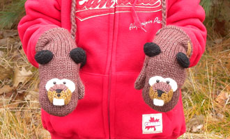 OUT OF STOCK/UNAVAILABLE Barkley the Beaver Mittens